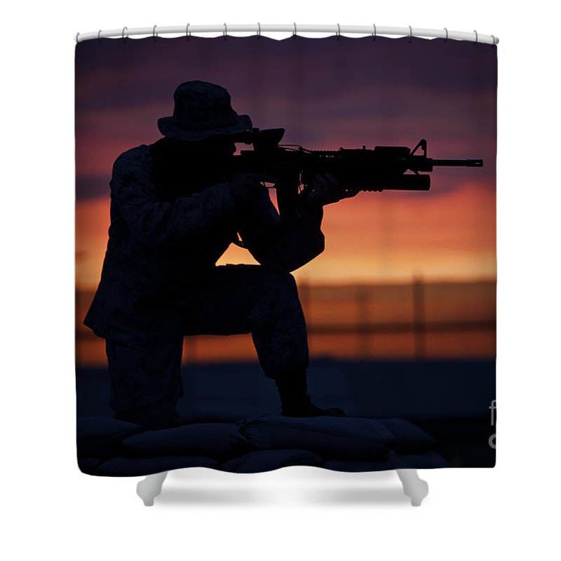 Afghanistan Shower Curtain featuring the photograph Silhouette Of A U.s Marine On A Bunker by Terry Moore