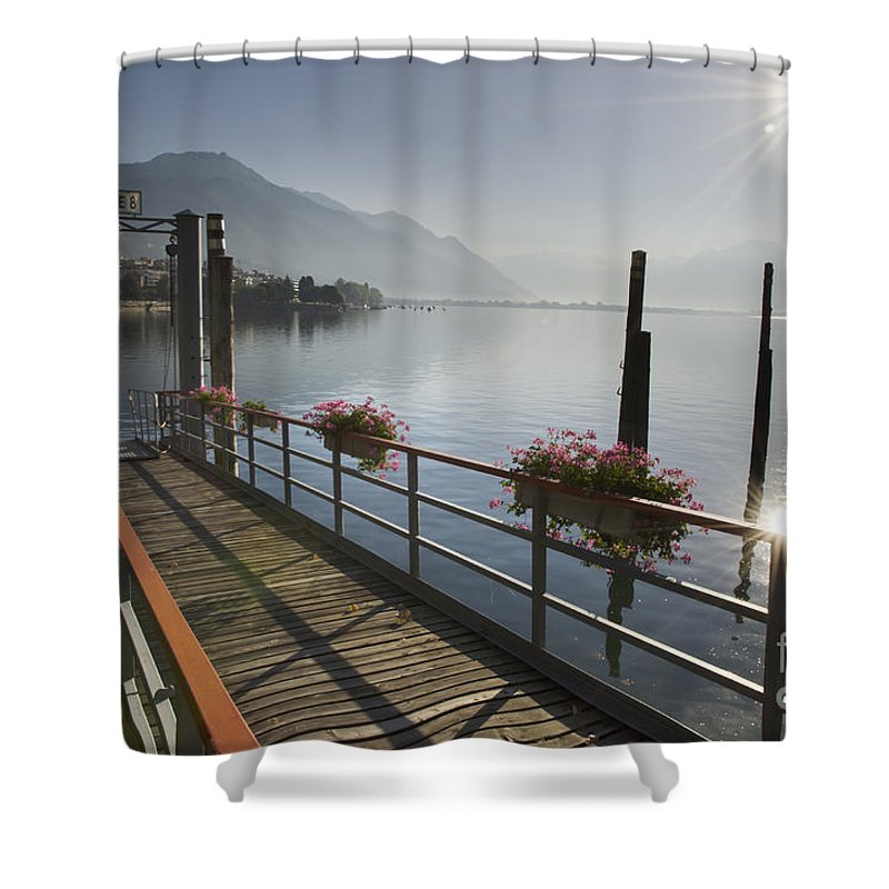 Pier Shower Curtain featuring the photograph Small Port by Mats Silvan