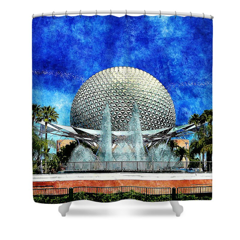 Disney Shower Curtain featuring the digital art Spaceship Earth And Fountain Of Nations by Sandy MacGowan