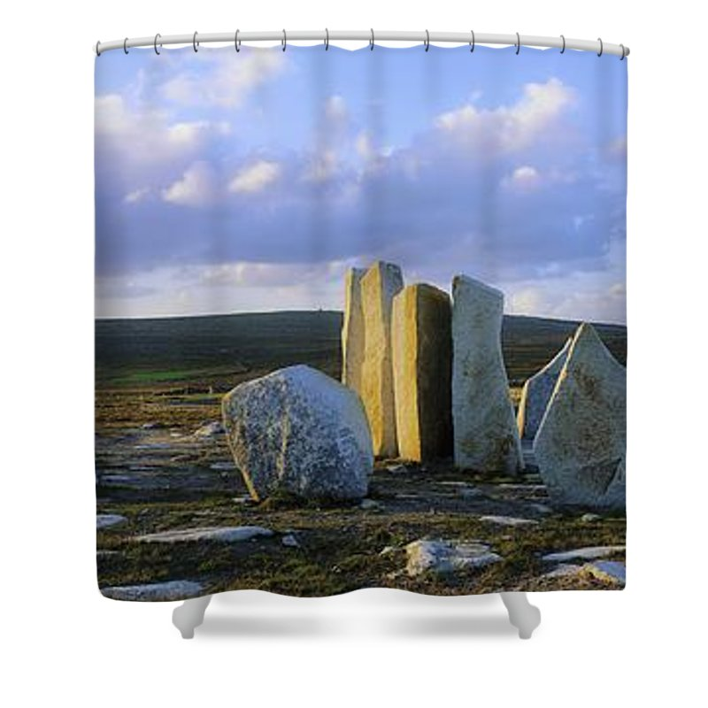 Blacksod Shower Curtain featuring the photograph Standing Stones, Blacksod Point, Co by The Irish Image Collection