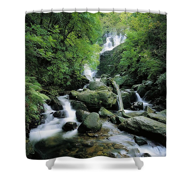 Blurred Motion Shower Curtain featuring the photograph Torc Waterfall, Killarney, Co Kerry by The Irish Image Collection