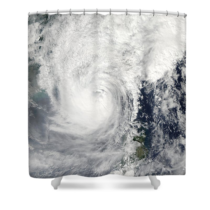 Spiral Shower Curtain featuring the photograph Typhoon Megi by Stocktrek Images