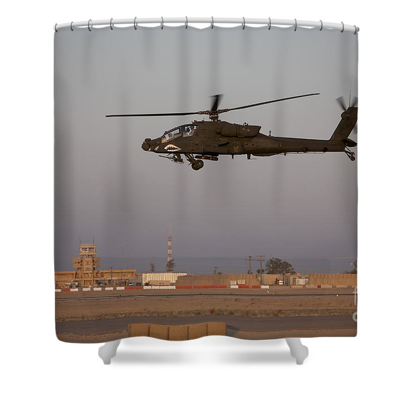 Aircraft Shower Curtain featuring the photograph An Ah-64d Apache Longbow Block IIi by Terry Moore