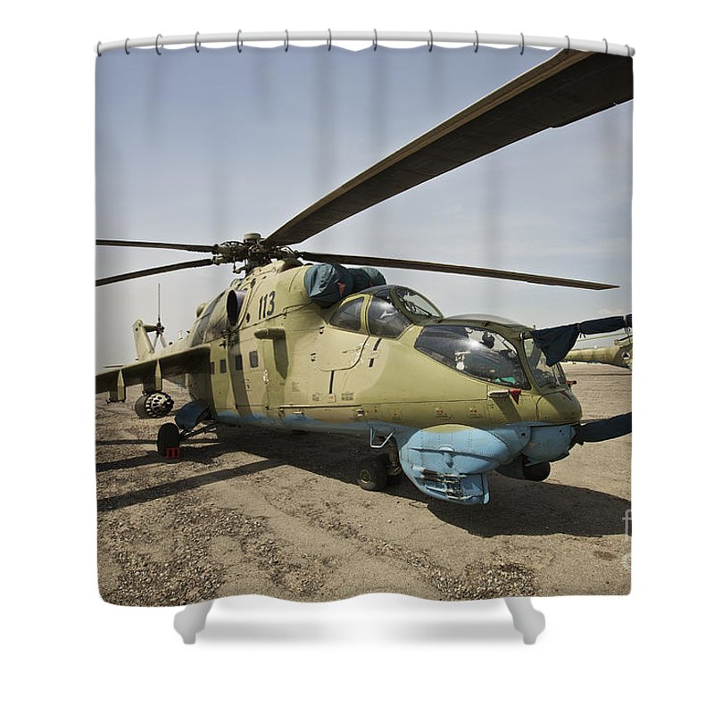 Attack Helicopters Shower Curtain featuring the photograph An Mi-35 Attack Helicopter At Kunduz by Terry Moore