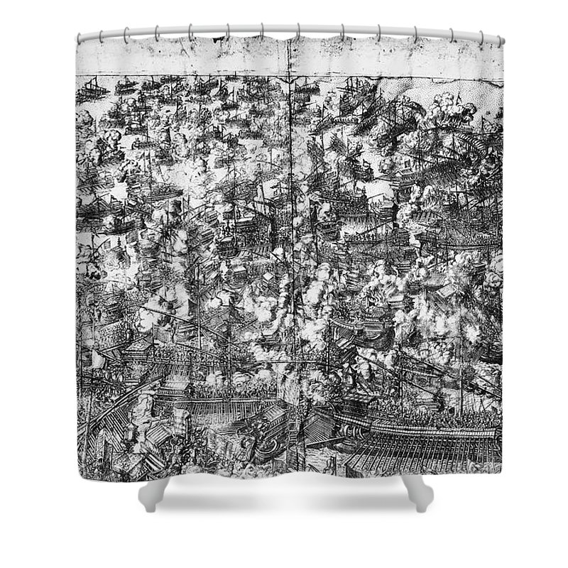 1571 Shower Curtain featuring the photograph Battle Of Lepanto, 1571 by Granger