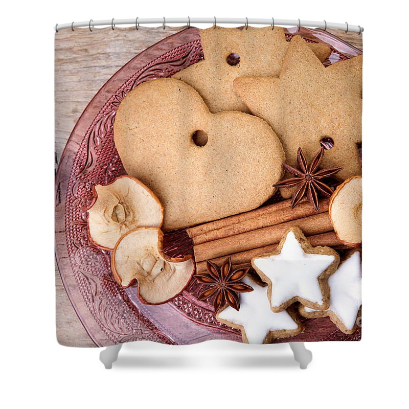 Ginger Shower Curtain featuring the photograph Christmas Gingerbread by Nailia Schwarz