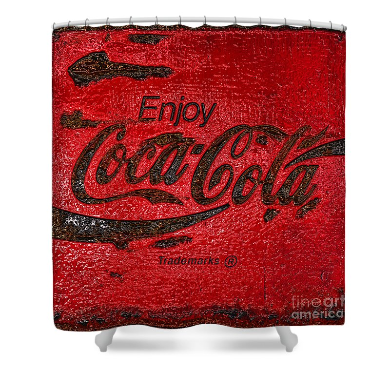 Coca Cola Shower Curtain featuring the photograph Coca Cola Classic Vintage Rusty Sign by John Stephens