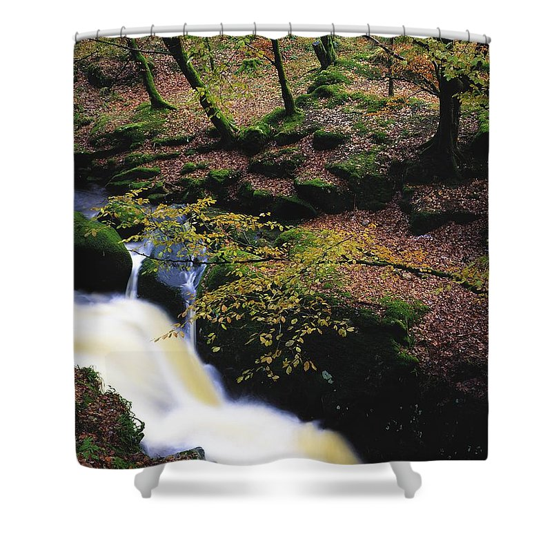 Color Image Shower Curtain featuring the photograph Glenmacnass Waterfall, Co Wicklow by The Irish Image Collection