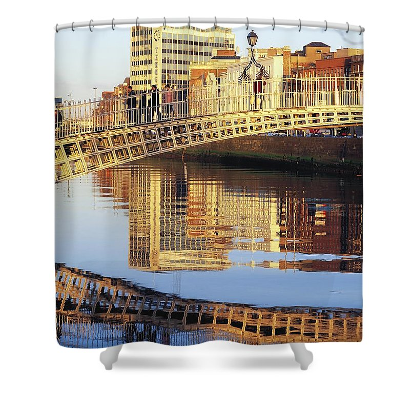 Background People Shower Curtain featuring the photograph Hapenny Bridge, River Liffey, Dublin by The Irish Image Collection