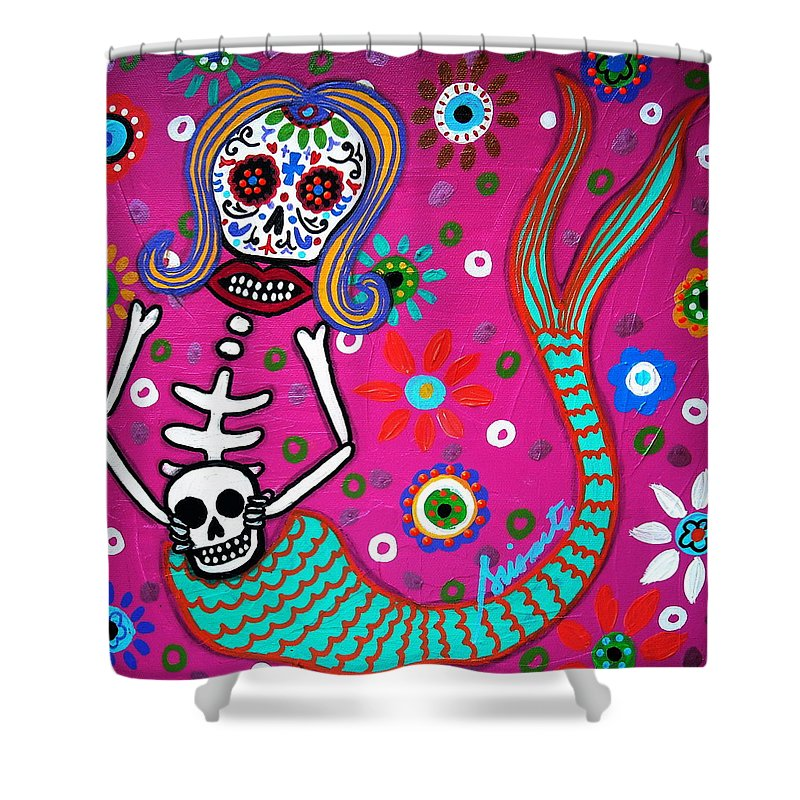 Blooms Shower Curtain Featuring The Painting Mermaid Day Of Dead By Pristine Cartera Turkus