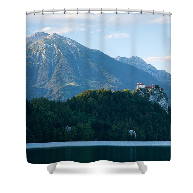 Bled Shower Curtain featuring the photograph Mountain Backdrop by Ian Middleton