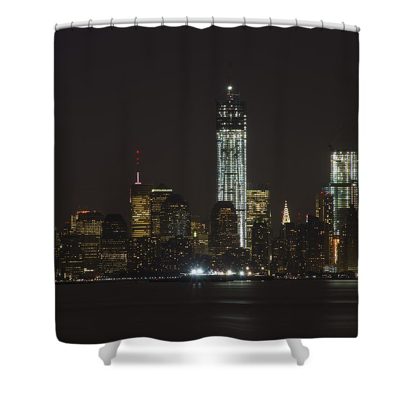 Freedom Tower Shower Curtain featuring the photograph Nyc Harbor View by Theodore Jones