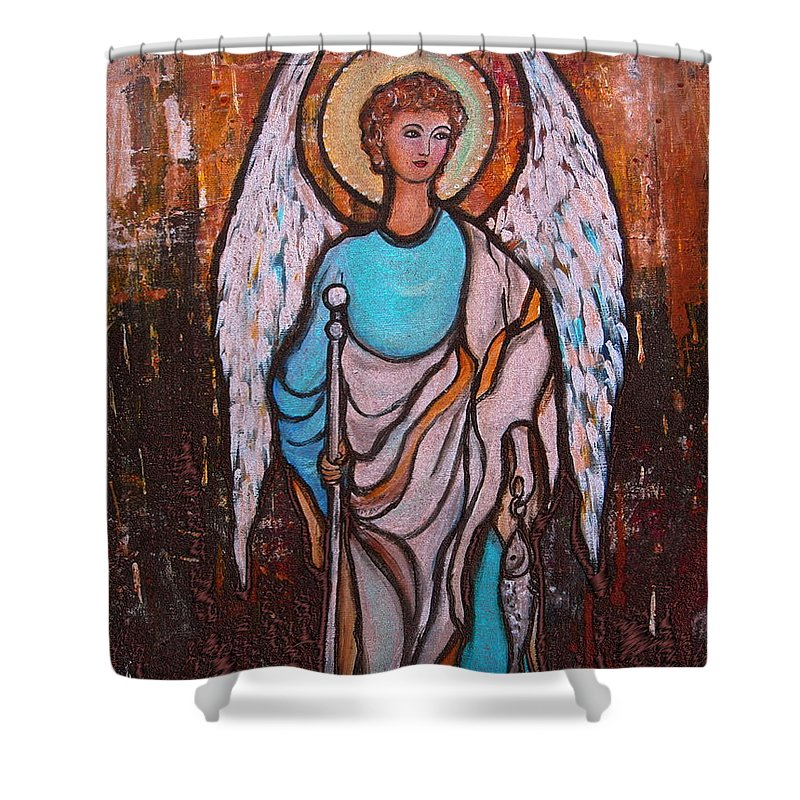 Raphael Archangel Shower Curtain featuring the painting Raphael Archangel by Pristine Cartera Turkus