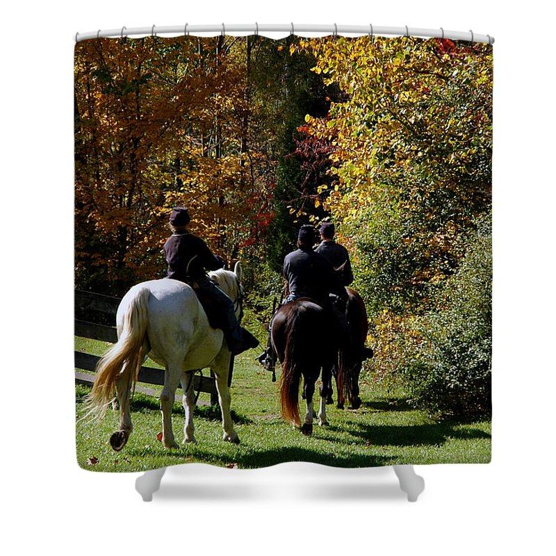 Usa Shower Curtain featuring the photograph Riding Soldiers by LeeAnn McLaneGoetz McLaneGoetzStudioLLCcom