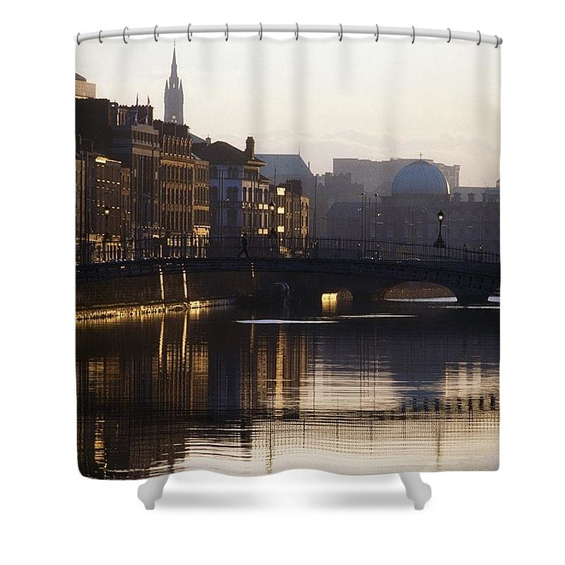 Back Lit Shower Curtain featuring the photograph River Liffey, Dublin, Co Dublin, Ireland by The Irish Image Collection