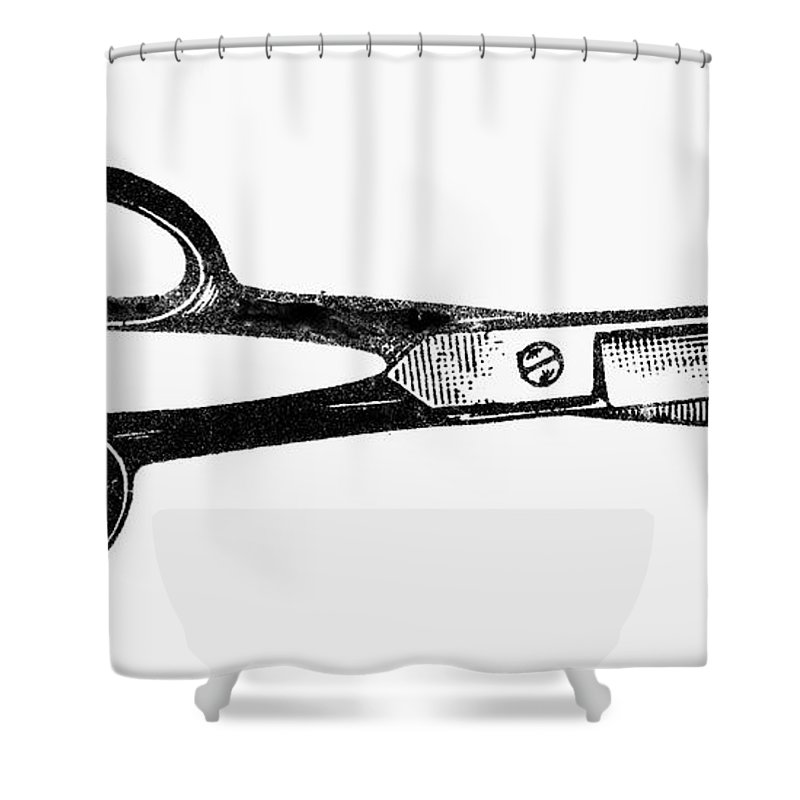1900 Shower Curtain featuring the photograph Scissors by Granger