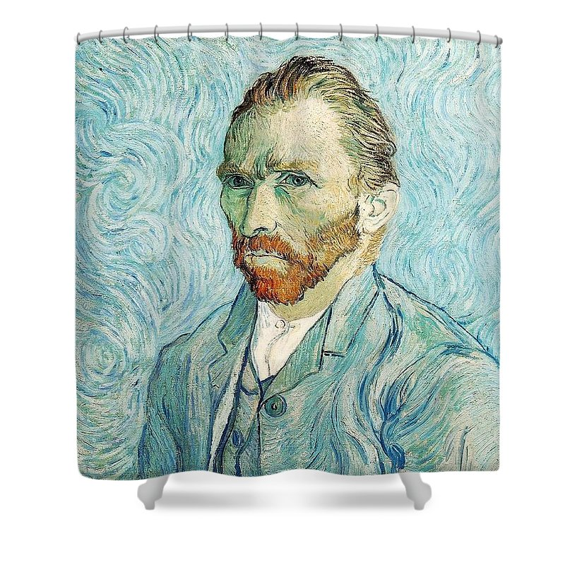 Impressionism Shower Curtain featuring the painting Self Portrait by Sumit Mehndiratta