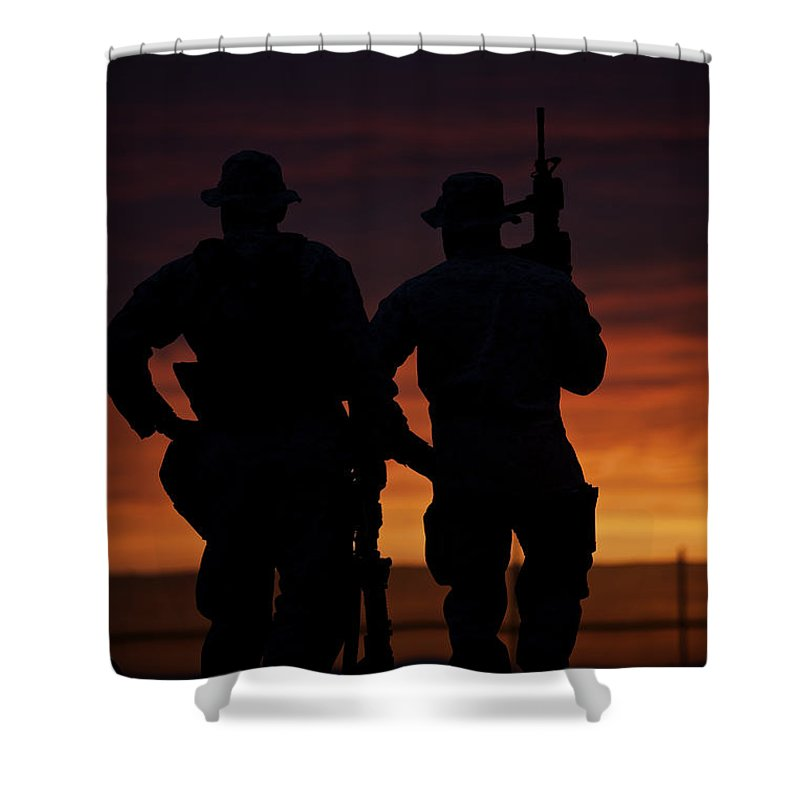 Operation Enduring Freedom Shower Curtain featuring the photograph Silhouette Of U.s Marines On A Bunker by Terry Moore