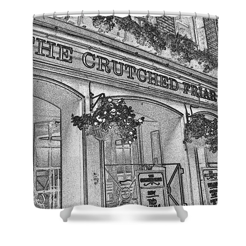 Pub Shower Curtain featuring the digital art The Crutched Friar Public House by David Pyatt