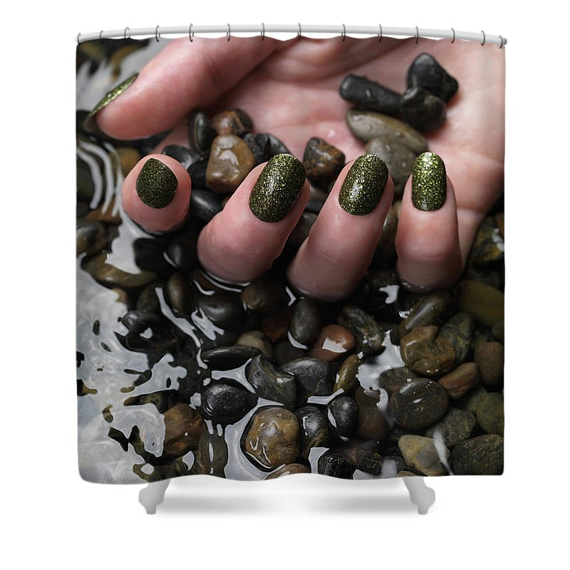 Manicure Shower Curtain featuring the photograph Woman Hand In Water by Oleksiy Maksymenko