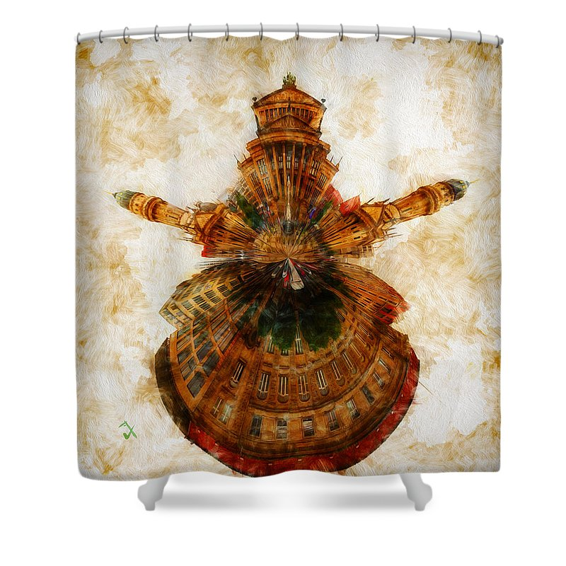 Buildings Shower Curtain featuring the painting Untitled by Adam Vance