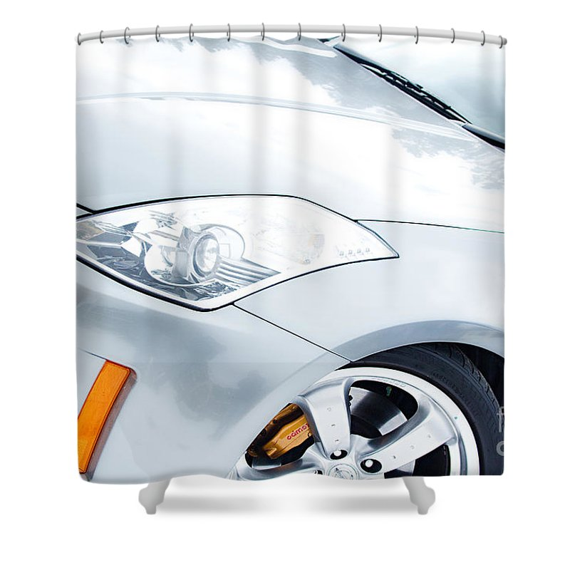 Automobiles Shower Curtain featuring the photograph 350z Car Front Close-up by James BO Insogna