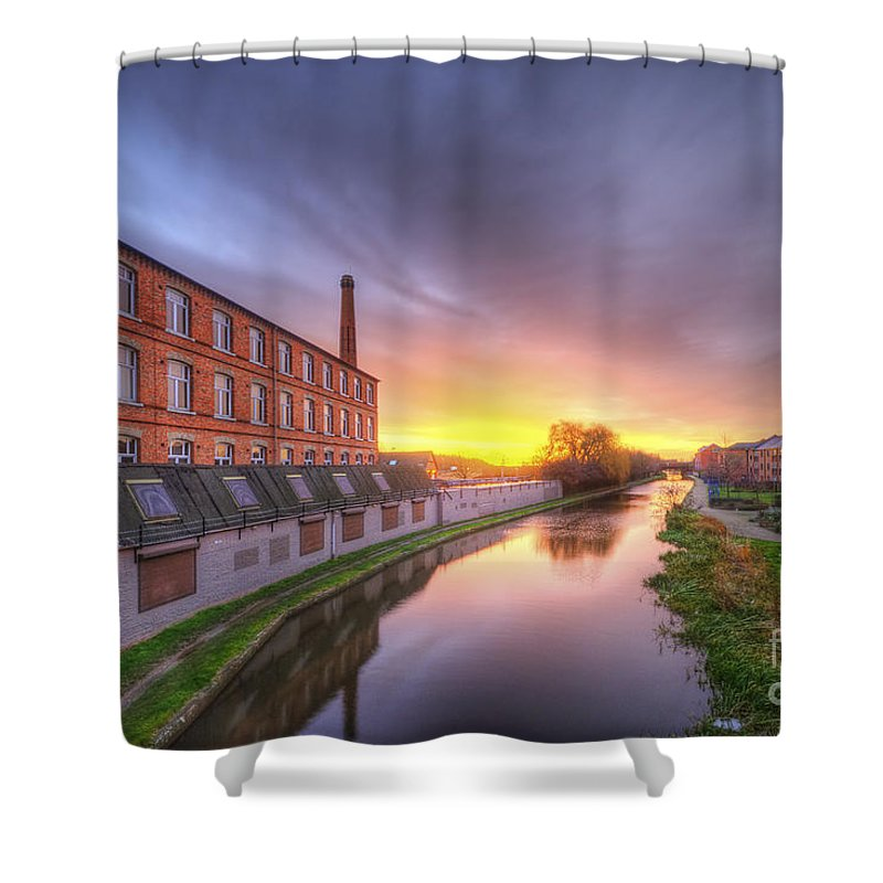 Yhun Suarez Shower Curtain featuring the photograph 3m Building Sunrise 2.0 by Yhun Suarez