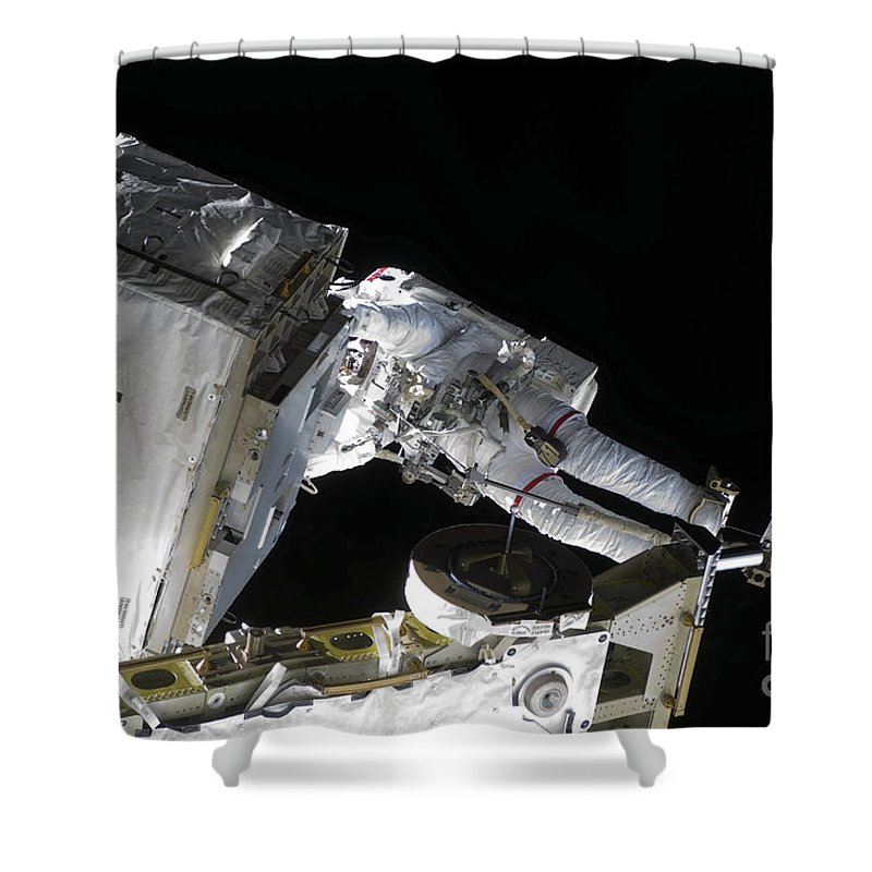 Horizontal Shower Curtain featuring the photograph Astronaut Participates by Stocktrek Images
