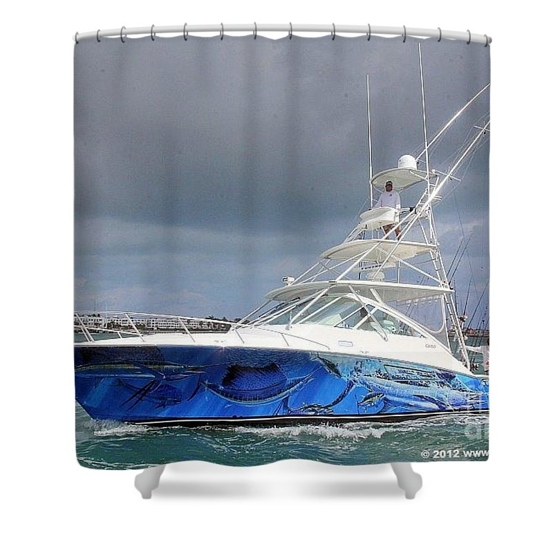 Boat Wrap Shower Curtain featuring the painting Boat Wrap by Carey Chen
