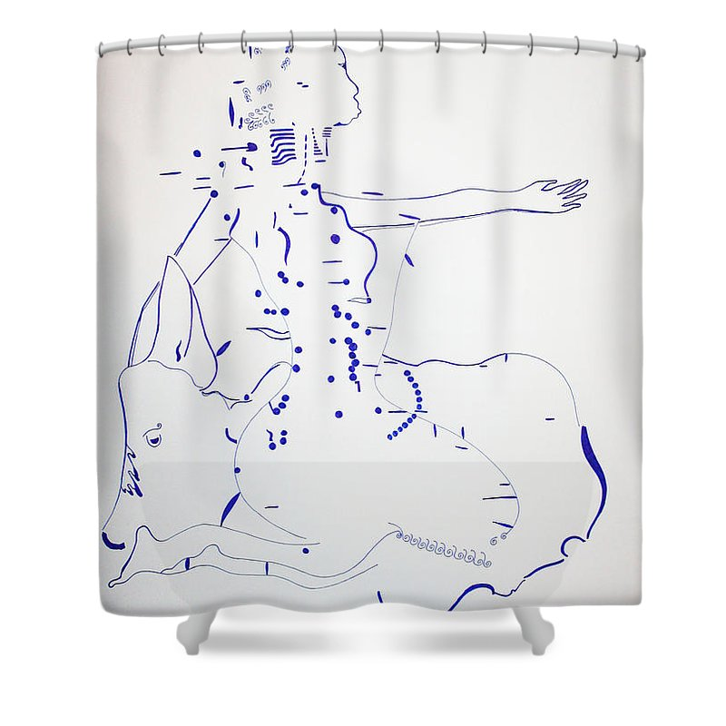 Jesus Shower Curtain featuring the drawing Dinka Bride - South Sudan by Gloria Ssali