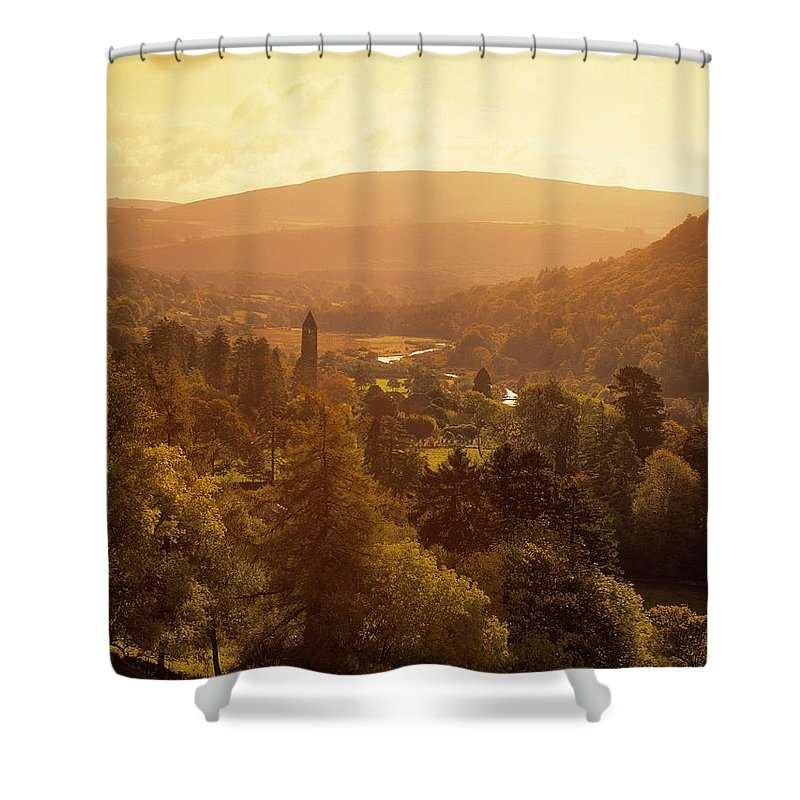 Abbeys Shower Curtain featuring the photograph Glendalough, Co Wicklow, Ireland by The Irish Image Collection