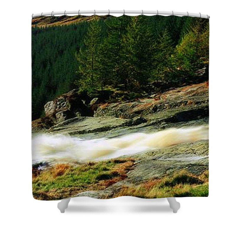 Co Wicklow Shower Curtain featuring the photograph Glenmacnass Waterfall, Co Wicklow by The Irish Image Collection