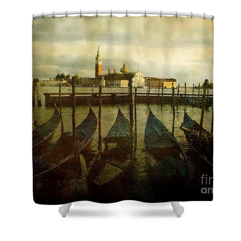 Aged Shower Curtain featuring the photograph Gondolas. Venice by Bernard Jaubert