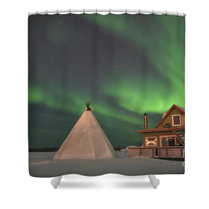 Yellowknife Shower Curtain featuring the photograph Northern Lights Above Village by Jiri Hermann
