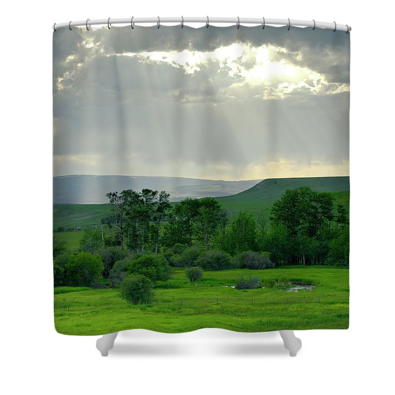 Americas Shower Curtain featuring the photograph Rain Sun Rays by Roderick Bley