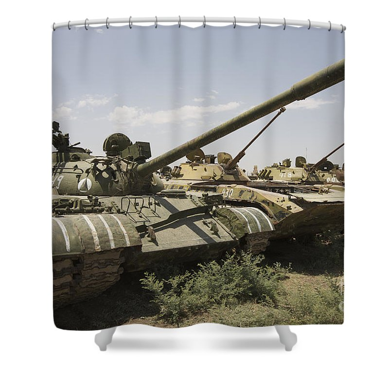 Tracked Vehicles Shower Curtain featuring the photograph Russian T-54 And T-55 Main Battle Tanks by Terry Moore
