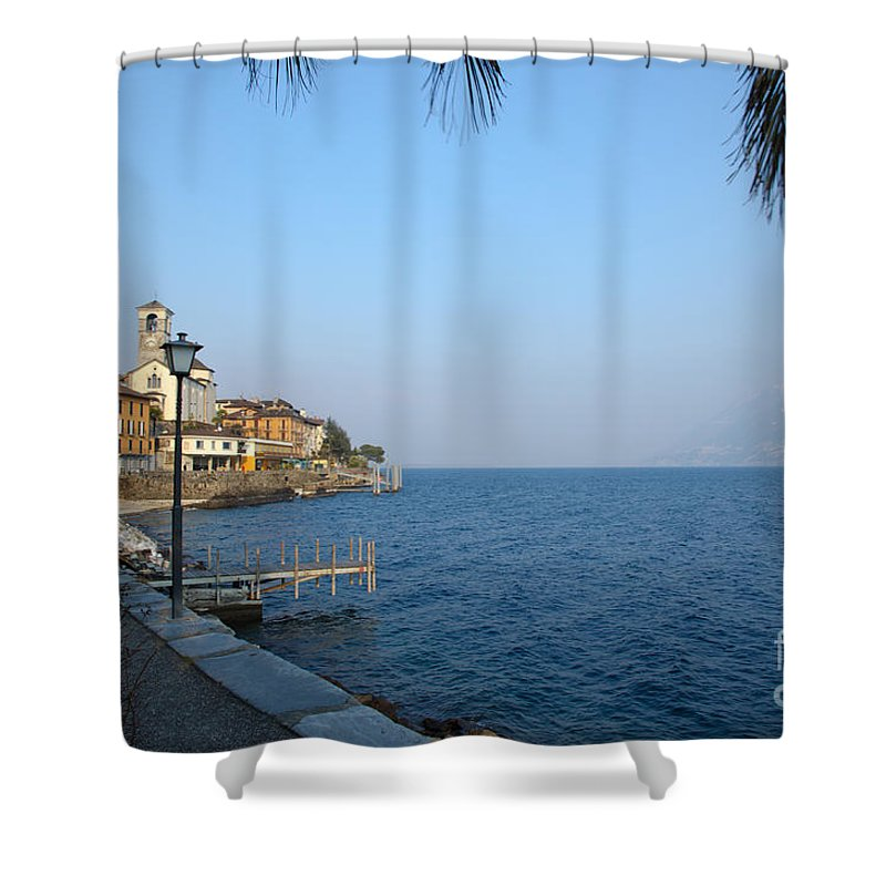 Vilage Shower Curtain featuring the photograph Village On The Lake Front by Mats Silvan