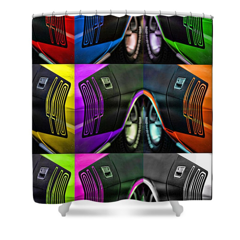 440 Shower Curtain featuring the photograph 440 Cuda Billboard Pop by Gordon Dean II