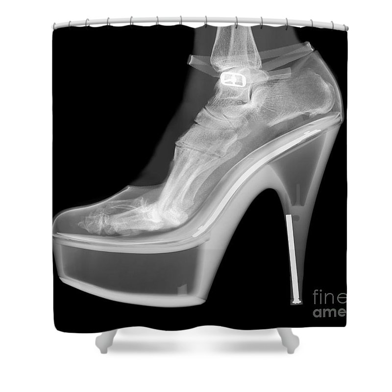 Shoe Shower Curtain Featuring The Photograph An X Ray Of A Foot In High