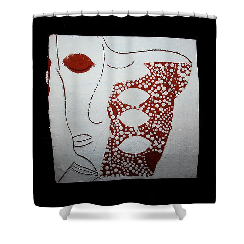 Jesus Shower Curtain featuring the ceramic art Guardian Angel by Gloria Ssali