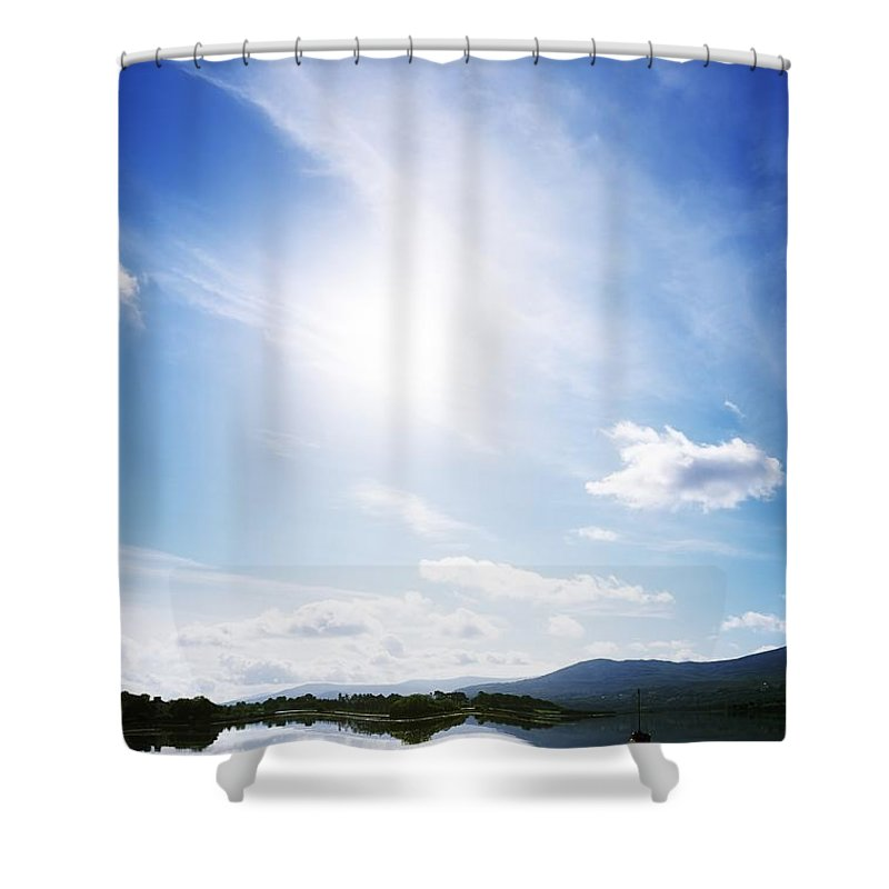 Blue Sky Shower Curtain featuring the photograph Kenmare Bay, Dunkerron Islands, Co by The Irish Image Collection