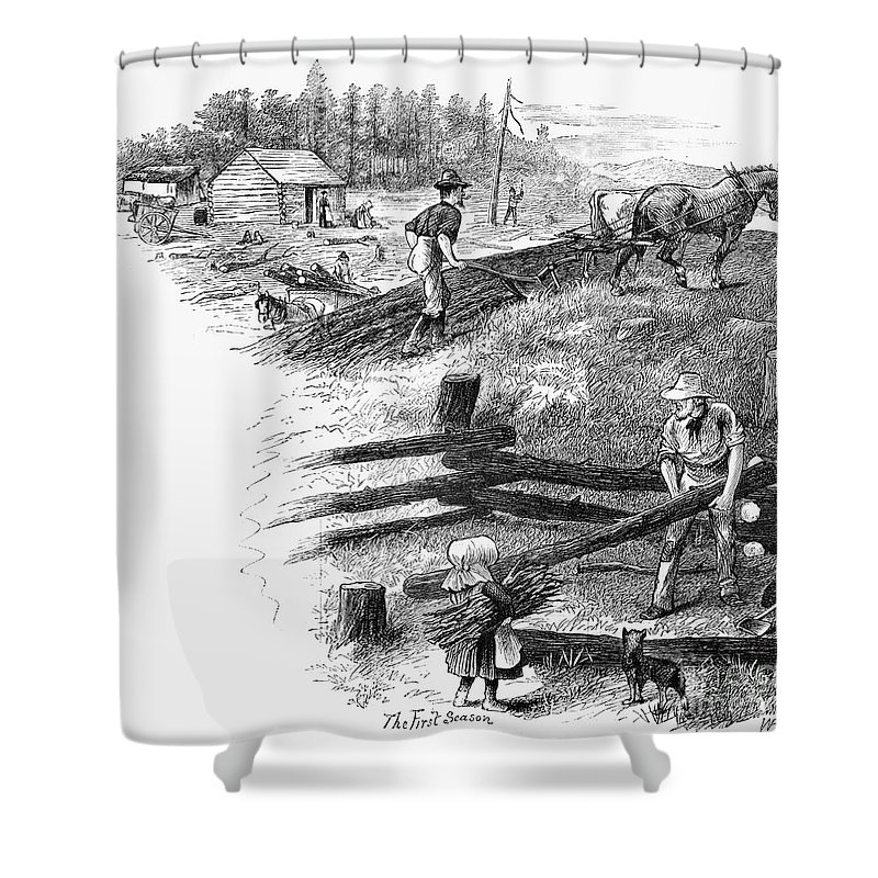 1878 Shower Curtain featuring the photograph Oregon Trail Emigrants by Granger