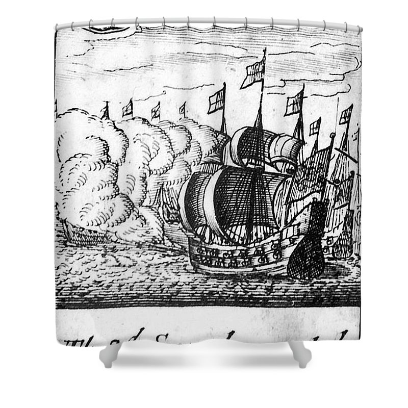1588 Shower Curtain featuring the photograph Spanish Armada, 1588 by Granger