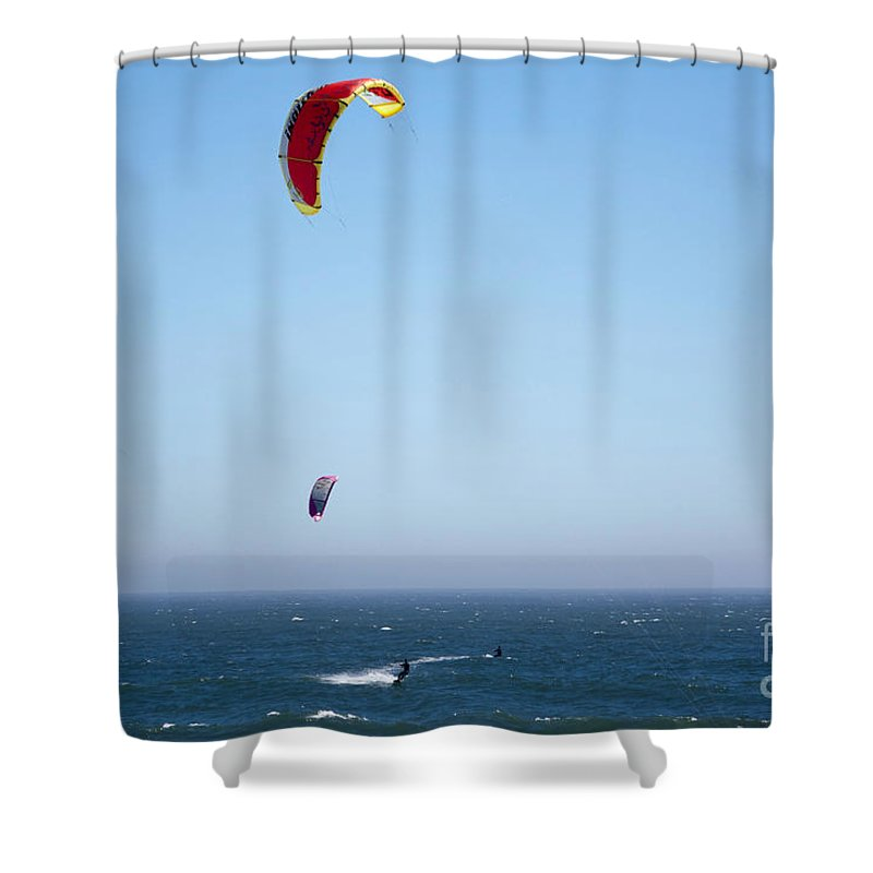 Print Shower Curtain featuring the photograph 580 Pr Parasailing by Chris Berry