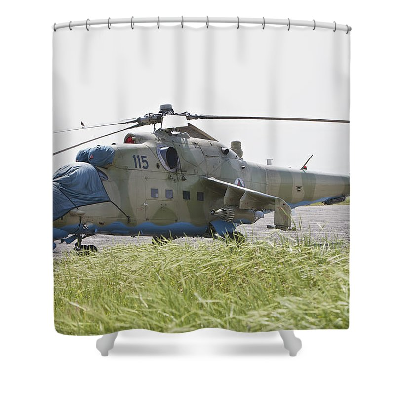 Rotary Wing Aircraft Shower Curtain featuring the photograph An Mi-35 Attack Helicopter At Kunduz by Terry Moore