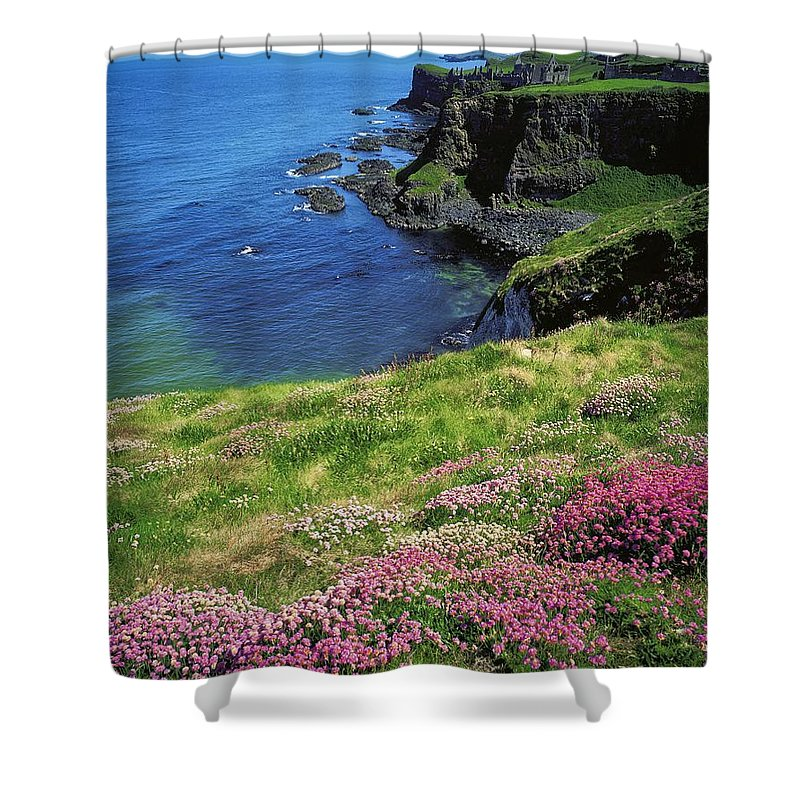 Beauty Shower Curtain featuring the photograph Dunluce Castle, Co Antrim, Ireland by The Irish Image Collection