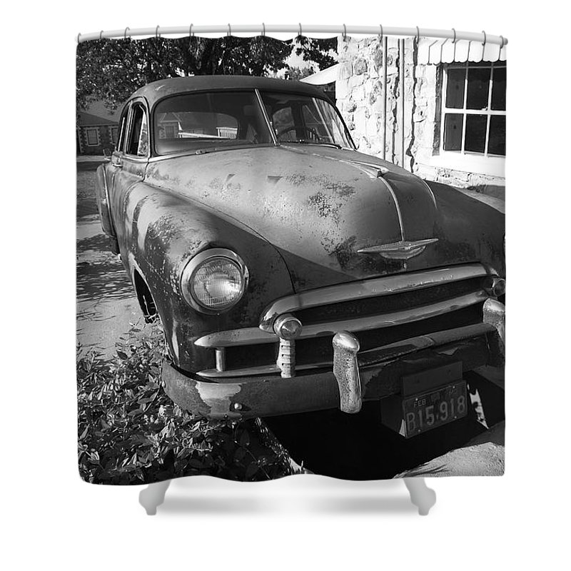 66 Shower Curtain featuring the photograph Route 66 Classic Car by Frank Romeo