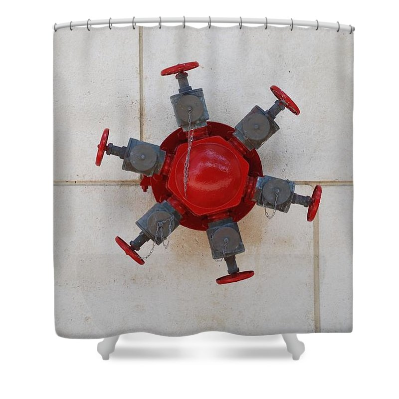 Mechanical Shower Curtain featuring the photograph 6 Valve by Rob Hans