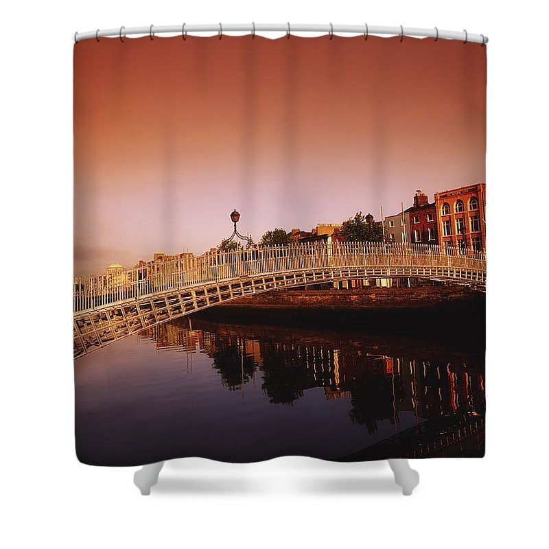 Outdoors Shower Curtain featuring the photograph Hapenny Bridge, River Liffey, Dublin by The Irish Image Collection