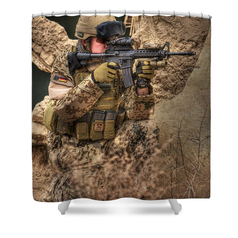 Kneeling Shower Curtain featuring the photograph Hdr Image Of A German Army Soldier by Terry Moore